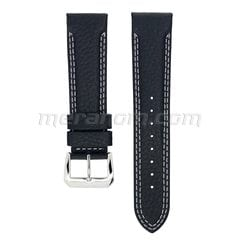 Water Resistance Leather Strap 22mm Black double white stitching