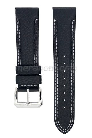 Orologi Vostok Water Resistance Leather Strap 22mm Black double white stitching