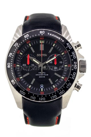 Vostok Watch K39 Quartz Chronograph Black