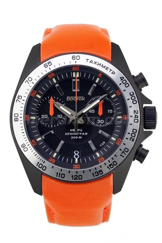 Vostok(Wostok) Uhr K39 Quartz Chronograph Orange Leather strap