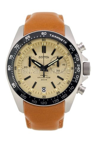 Vostok relojes K39 Quartz Chronograph Sand Leather strap