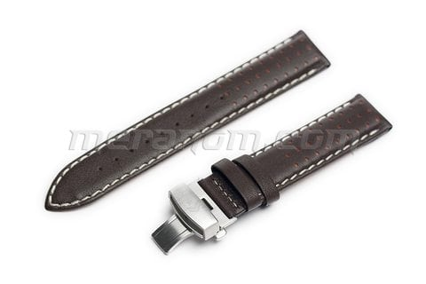Brown leather strap K-34 with deployment clasp