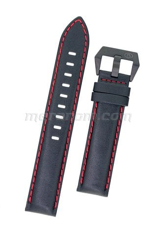 Black leather strap Black Buckle Red Stitching 20mm