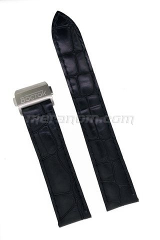 Black leather strap 20mm deployment folding clasp