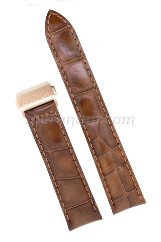 Orologi Vostok Brown leather strap 20mm deployment folding clasp