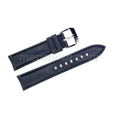 Black leather strap silver buckle 20mm