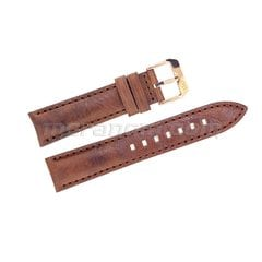 Brown leather strap silver buckle 20mm yellow buckle