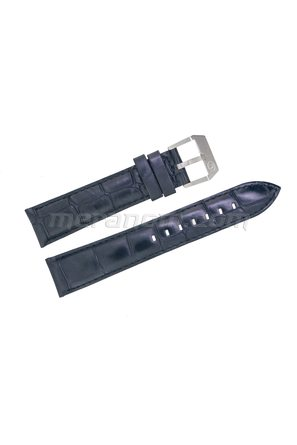 Black leather strap 20mm silver buckle