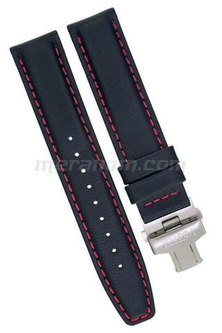 Vostok Watch Black leather strap K-34 with deployment clasp red stitiching