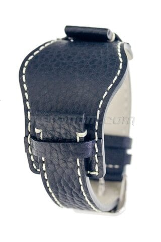 Vostok relojes Black leather bund strap 18 mm.