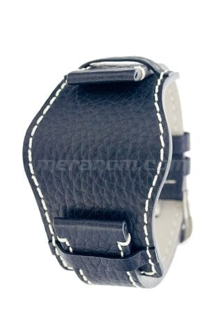 Vostok Watch Black leather bund strap 22 mm.