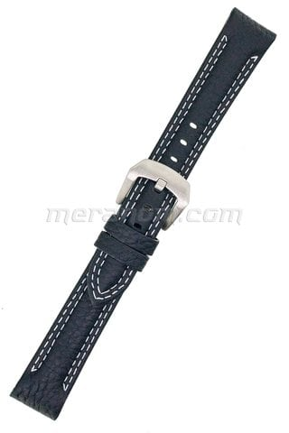 Water Resistance Leather Strap 18mm black double white stitching