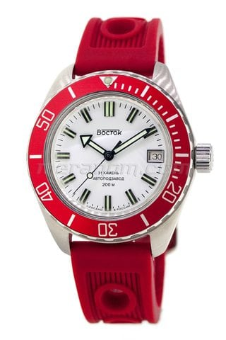 Vostok Watch Amphibian SE 020B34 red brushed