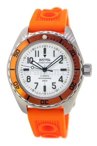 Vostok Watch Amphibian SE 020B37 orange brushed