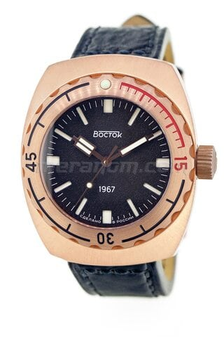 Vostok Watch Amphibia 1967 196500 black leather strap