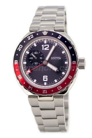 Vostok relojes Amphibian SE 960B43 Anchor black red bezel