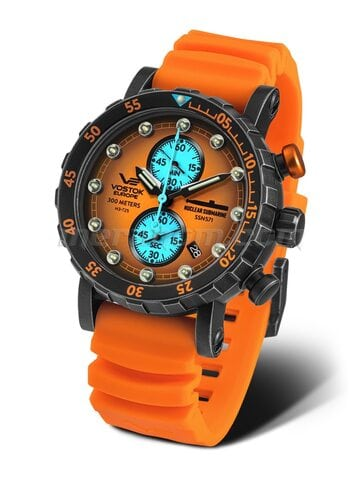 Vostok Europe VK61-571F612 Men's Watch Chronograph SSN-571 Nuclear Submarine Orange